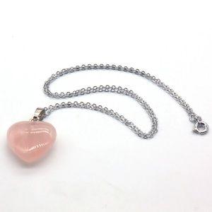 New! Rose Quartz Heart Pendant Necklace